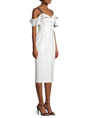 Cold-Shoulder Grosgrain-Trimmed Crepe Dress, Chalk