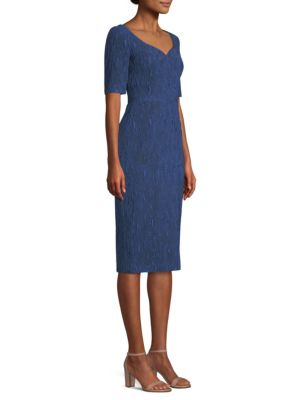 Sweetheart-Neck CloquÉ Jacquard Cocktail Dress in Blue