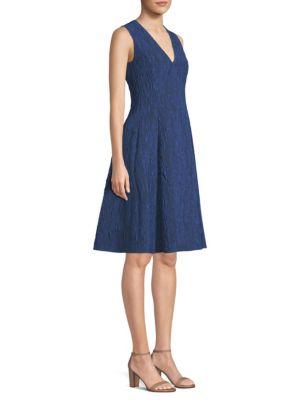V-Neck Sleeveless Fit-And-Flare CloquÉ Jacquard Cocktail Dress, Deep Sea Blue