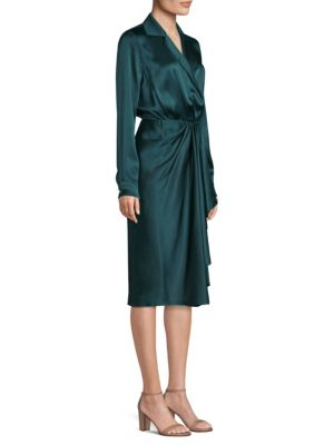 Wrap-Effect Silk-Charmeuse Dress in Green