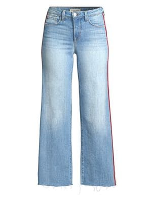 Danica Striped High-Rise Wide-Leg Jeans, Lake Blue