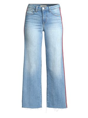 Danica Striped High-Rise Wide-Leg Jeans in Blue