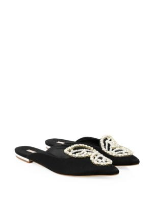 Bibi Butterfly Embellished Satin Backless Flats in Black