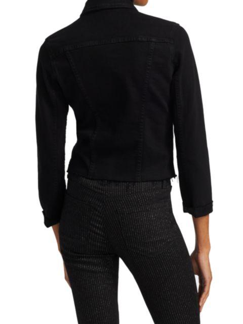 L'Agence Janelle Slim-Fit Raw-Hem Denim Jacket   SaksFifthAvenue