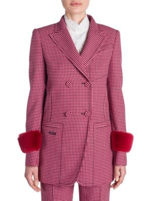 Shearling-Trimmed Houndstooth Wool Blazer, Red Micro Check