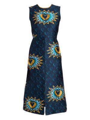 Heart Jacquard Front Slit A-Line Dress in Blue