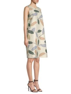 Hana Laurel-On-Cotton Shift Dress, Raffia Multi
