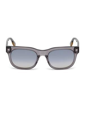 ZEGNA 53Mm Square Mirrored Sunglasses in Grey
