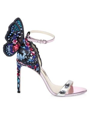 Chiara Embroidered Satin And Metallic Leather Sandals, Multi
