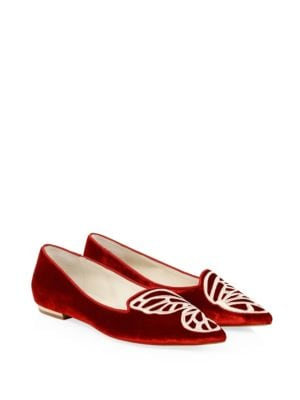 Bibi Butterfly Velvet Ballet Flats by Sophia Webster