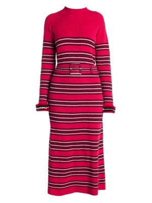 Striped Wool And Cashmere Dress in Red