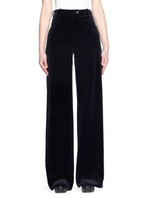 Cotton-Velvet Wide-Leg Pants, Navy Blue