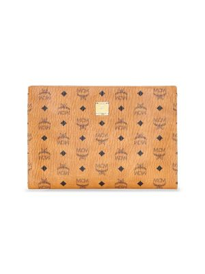 Small Visetos Zip Pouch - Brown in Cognac/ Off White