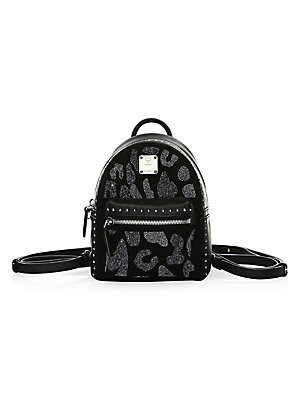 aca4fa108d30 MCM - Extra Mini Stark Leopard Crystal Leather Backpack - saks.com
