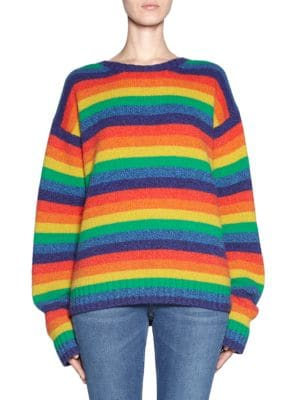 Samara Rainbow-Stripe Wool Sweater, Multi