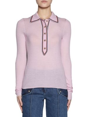 Stripe-Detailed Rib-Knit Sweater - Pink Size M in Baby Pink