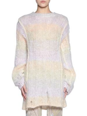 Oversized Stripe Mohair Sweater in Lilac/Multi