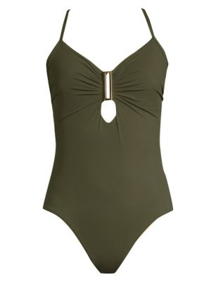 AMORESSA Eclipse Northern Cross One-Piece Swimsuit in Olive Green