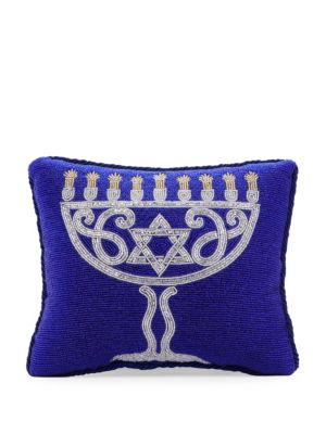 Sudha Pennathur Holiday 2018 Beaded Menorah Pillow