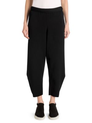 Compact Knit Carrot Pants in Black