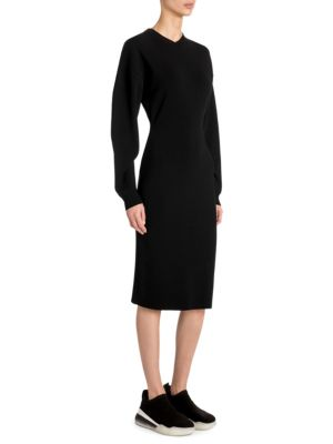 Compact Knit Long Sleeve Sweater Dress in Black