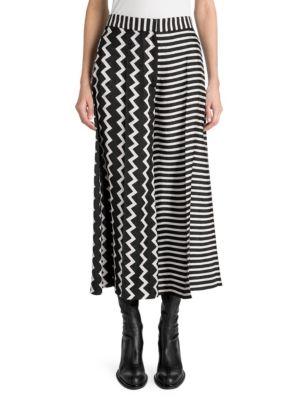 STELLA MCCARTNEY Zigzag & Stripe Mixed-Print Wide-Leg Silk Culotte, Bone Black