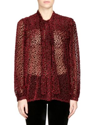 Tie-Neck Long-Sleeve Velvet Burnout Blouse, Bordeaux