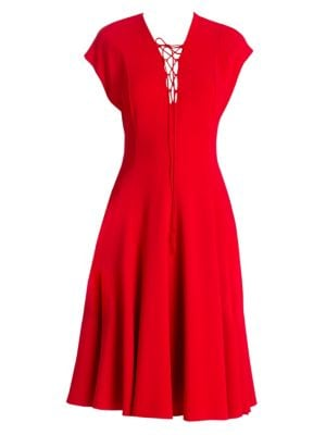Cap-Sleeve Lace-Up Front A-Line Dress in Red