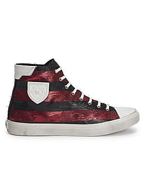 Image of Street smart leather sneakers with logo and textured metallic details Leather upper Cap toe Lace-up closure Side logo detail Leather sole Made in Italy. Men's Shoes - Designer Shoes. Saint Laurent. Color: Black Red. Size: 42 (9).