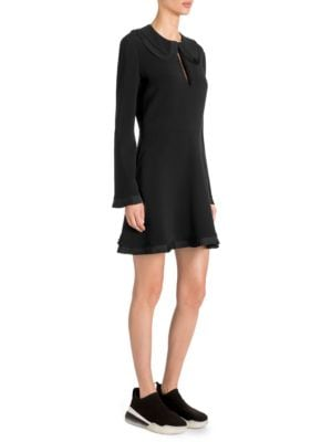 Long-Sleeve Pleated-Ruffle Mini Dress, Black