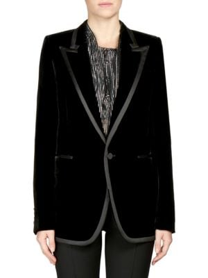 Ribbon-Trimmed Corduroy Blazer, Black