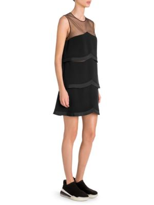 Sleeveless Sheer-Yoke Tiered Pleated Mini Dress in Black