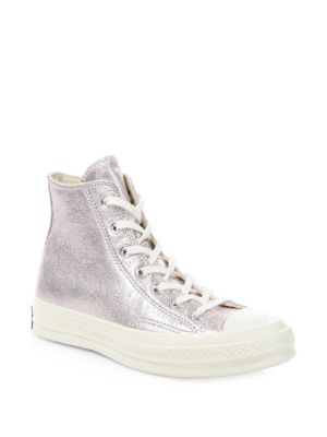 Women'S Chuck Taylor All Star 70 Metallic High Top Sneakers, Silver Leather
