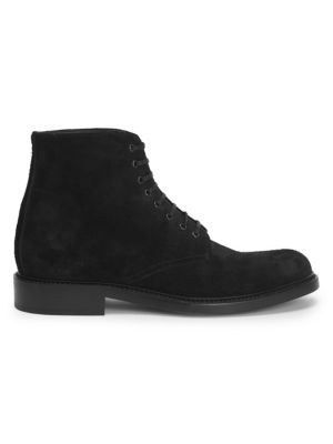 Army Suede Lace-Up Boots in Black