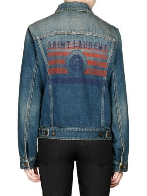 Button-Front Long-Sleeve Denim Jacket W/ University Emblem Print On Back, Deep Vintage Blue