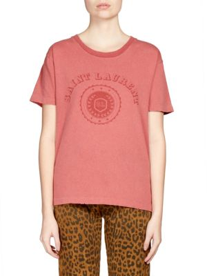 University-Medallion Short-Sleeve Cotton Graphic-Print T-Shirt, Rouge