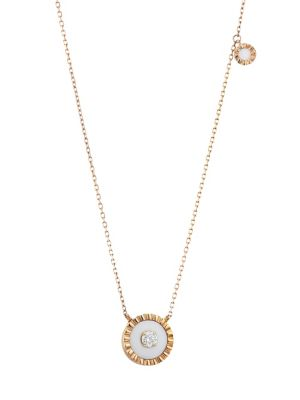 Marli Coco Femme 18k Rose Gold White Agate Diamond Pendant Necklace