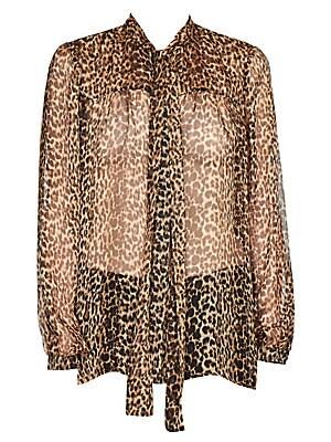 8ed8d27a9d76 Saint Laurent - Silk Georgette Leopard Print Blouse - saks.com
