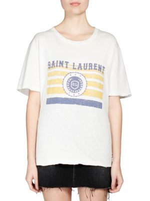 SAINT LAURENT University-Medallion On Stripes Crewneck Short-Sleeve Cotton T-Shirt, Ecru Yellow Blue