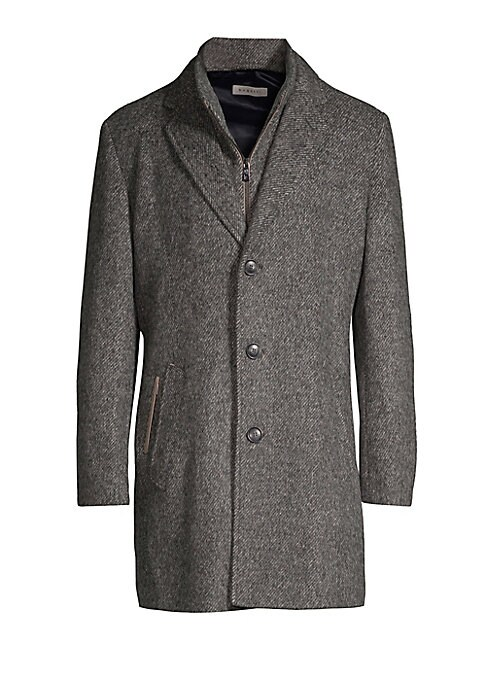"""Image of Elegant wool coat crafted in a woven mix media aesthetic. Notch lapels. Long sleeves. Button front. Waist slip and welt pockets. About 35.5"""" from shoulder to hem. Wool/acrylic/polyester. Dry clean. Imported."""