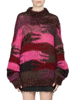 Crewneck Camo Patchwork Mohair-Blend Sweater, Red Pattern, Fuchsia from SSENSE