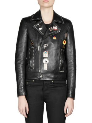 Logo Pin Lambskin Leather Jacket, Black Multi Silver