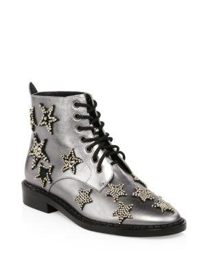 Watts Crystal Star Metallic Leather Boots, Gunmetal