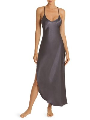 IN BLOOM Asymetrical Satin Nightgown in Charcoal