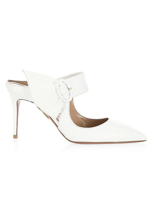 """Image of Buckle detail tops elegant leather mules. Self-covered stiletto heel, 3.34"""" (85mm).Leather upper. Point toe. Slip-on style. Leather lining and sole. Made in Italy."""