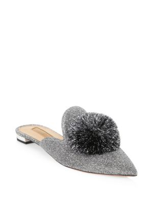Powder Puff Pompom-Embellished Lurex Slippers, Silver