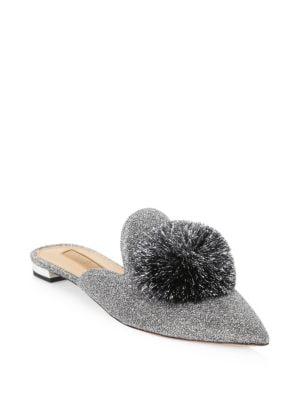 AQUAZZURA Powder Puff Pompom-Embellished Lurex Slippers in Silver