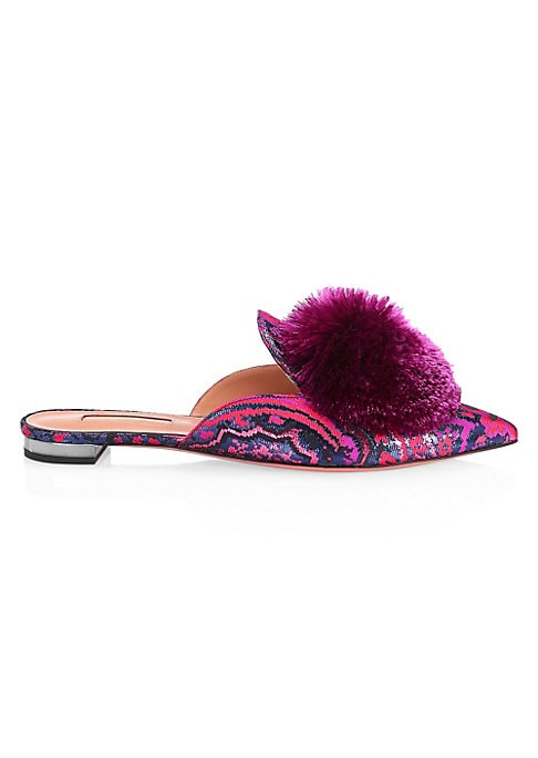 Image of Brocade mules accentuated with vibrant pom pom embellishment. Polyester and polyamide upper. Polyester trim. Point toe. Slip-on style. Leather lining and sole. Made in Italy.
