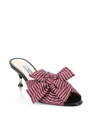 Stripe Bow Leather Mules by Prada