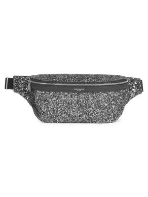 SAINT LAURENT Black Glitter Belt Bag, Gold Black